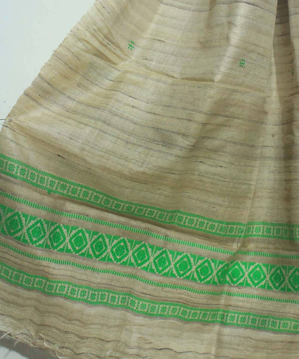 Off White and Green Handwoven Tussar Dupatta