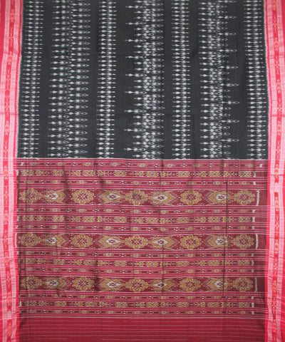 Handloom Nuapatna Cotton Saree Black Red