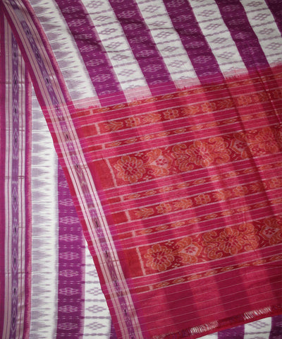 White Pink Handwoven Nuapatna Cotton Saree