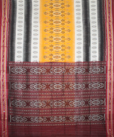 Handloom Nuapatna Cotton Saree Yellow Maroon