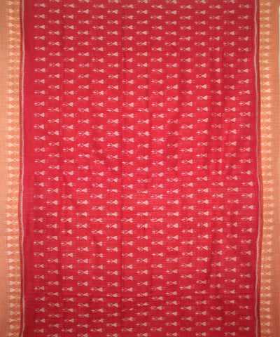 Handloom Nuapatna Cotton Saree Red Peru