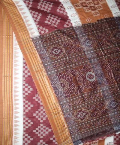 Handwoven Nuapatna Cotton Saree White Peru