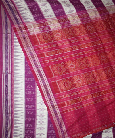 Nuapatna White Pink Handwoven Cotton Saree