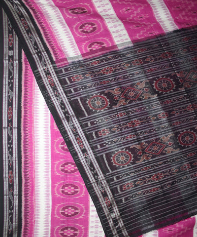 Handloom Nuapatna Cotton Saree Pink Black