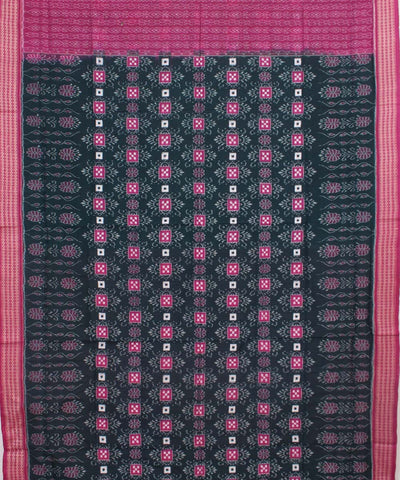 Deep Green Magenta Sambalpuri Cotton Saree