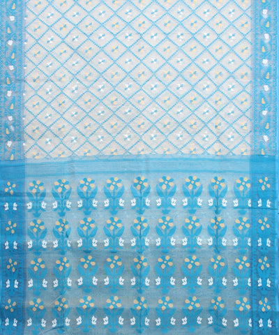 White with Blue Bengal Handloom Jamdani Saree