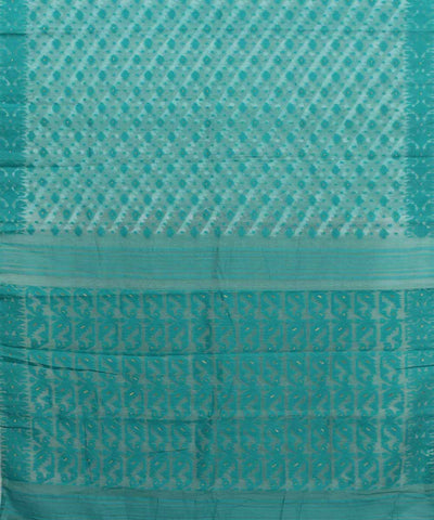 Bengal White Green Handwoven Jamdani Saree