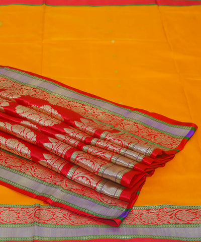 Golden yellow handloom silk banarasi saree