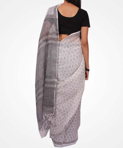 Handwoven Black And White Linen Saree