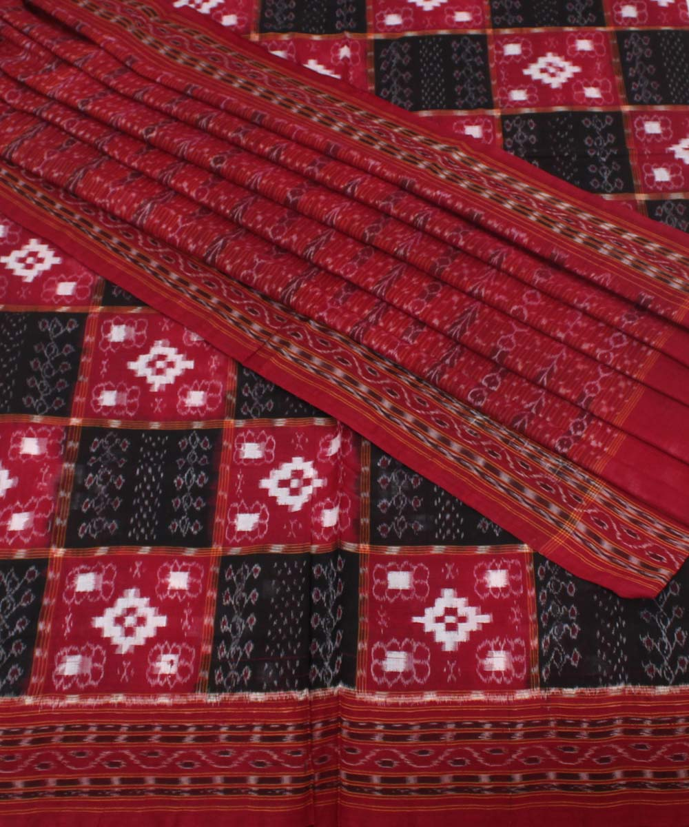 Sambalpuri Handloom Maroon Black Cotton Saree
