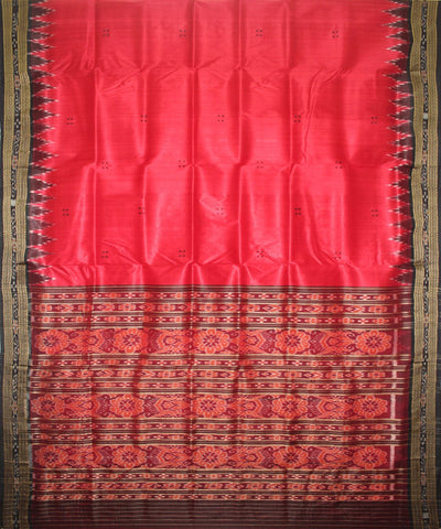 Handwoven Khandua Silk Saree Red Black