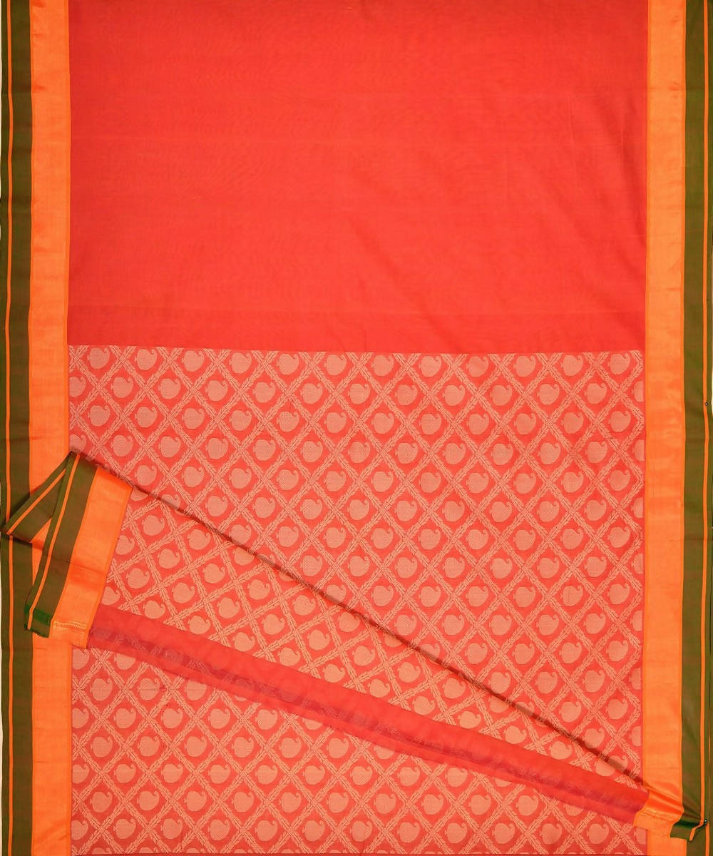 Orange Handloom Kanchi Cotton Saree Threadwork Pallu