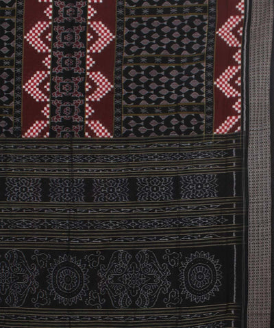 Sambalpuri Black Brown Handloom Cotton Saree