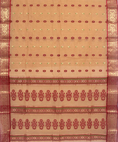 Bengal Handloom Brown Cotton tant Saree