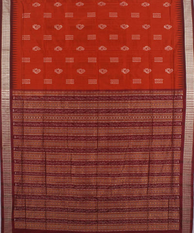 Red Maroon Handloom Bomkai Patli Silk Saree
