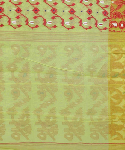 Bengal Jamdani Handwoven Green Red Saree
