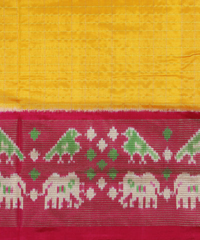 Yellow Pink Check Handloom Ikkat Silk Saree