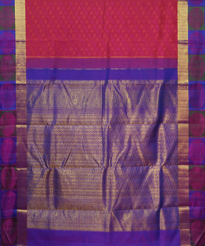 Peach, Pink, Purple Handwoven Arni Silk Saree