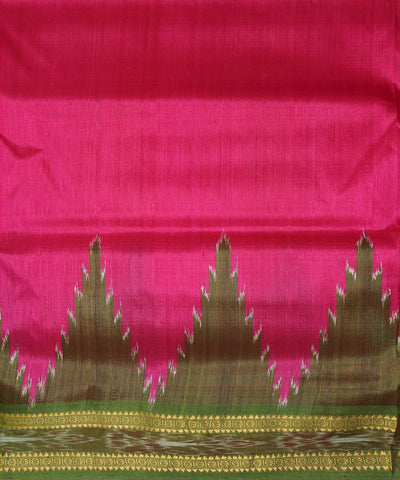 Handwoven Khandua Silk Saree Pink Green