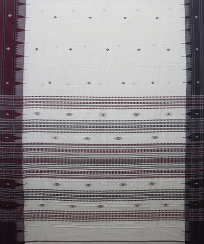 White Maroon Kotpad Handloom Cotton Saree