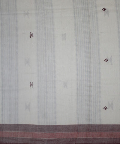 Kotpad White Maroon Handloom Cotton Saree