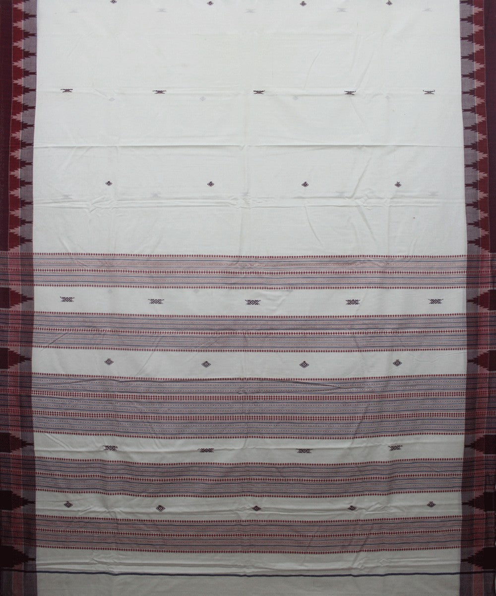 Kotpad Handloom Cotton Saree White Maroon