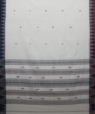 Kotpad Handloom Cotton Saree White Dark Blue