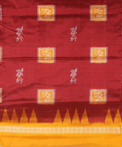 Handloom Bomkai Silk Saree Maroon Orange
