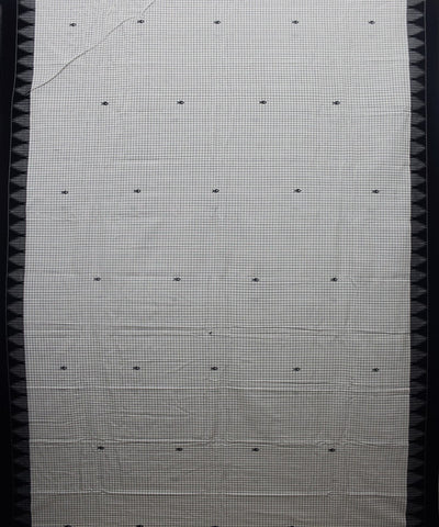White Checks Kotpad Handloom Cotton Saree