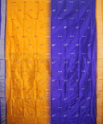 Handloom Bomkai Silk Saree Yellow Blue