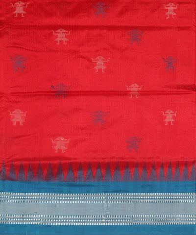 Handloom Bomkai Silk Saree Red Blue