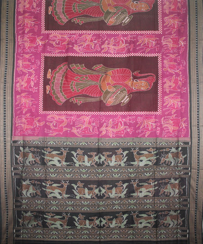 Handwoven Sambalpuri Cotton Saree Pink Black