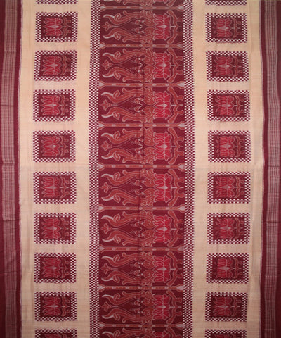Handwoven Sambalpuri Cotton Saree Beige Maroon