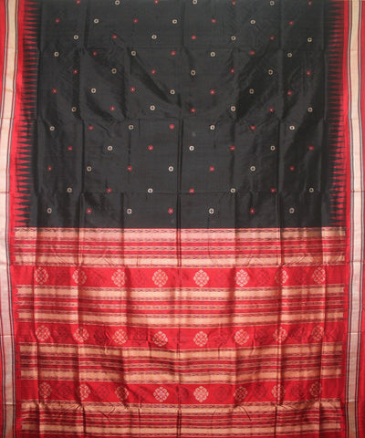 Handloom Bomkai Silk Saree Black Red