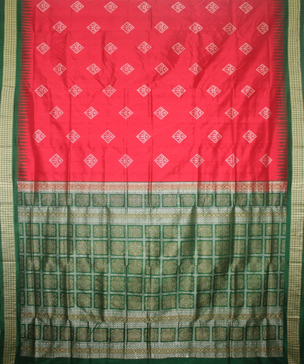 Red Green Handloom Bomkai Silk Saree