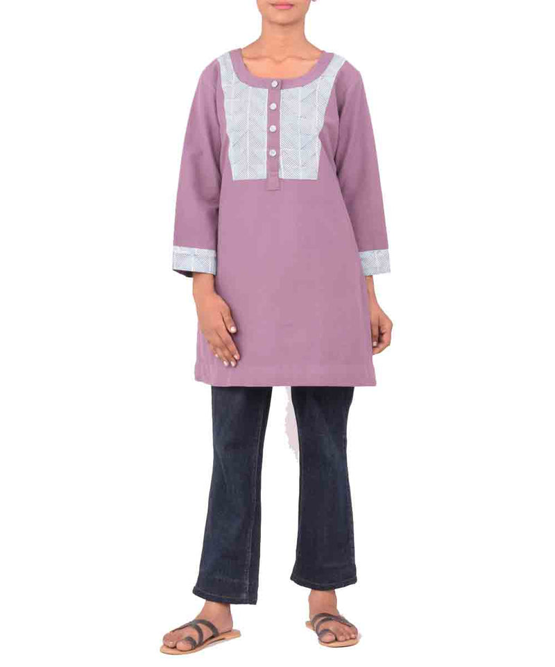 Mauve And Pale Blue Hand Print Cotton Tunic