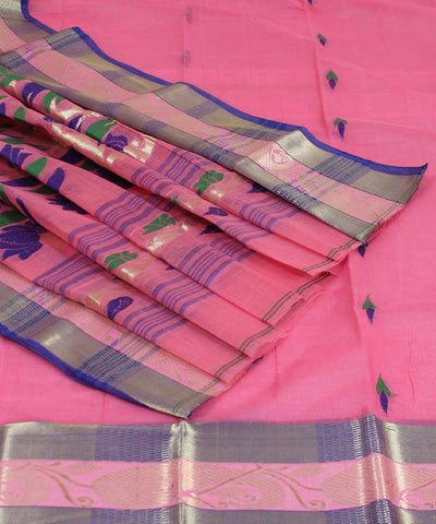 Pink Handwoven Tangail Cotton Saree