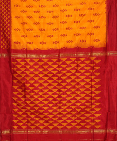 Handloom Pochampally Orange Yellow Silk Saree