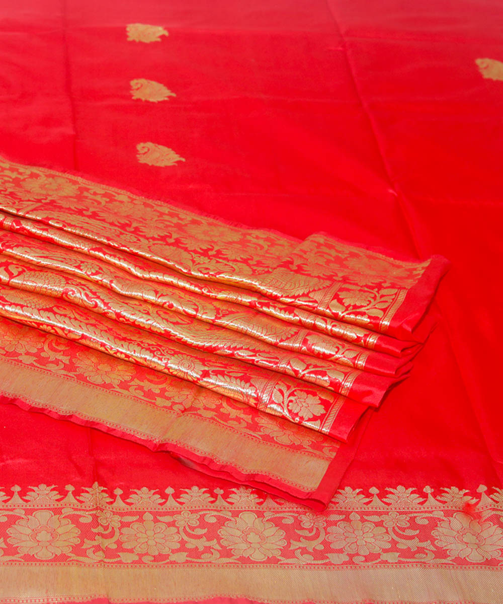 Banarasi Ruby Red Handloom Silk Saree