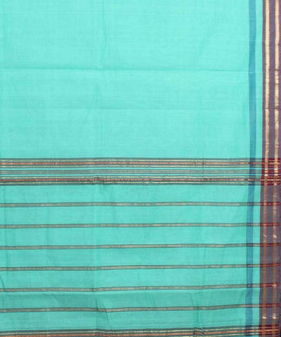 Cyan Green Handloom Manamedu Cotton Saree
