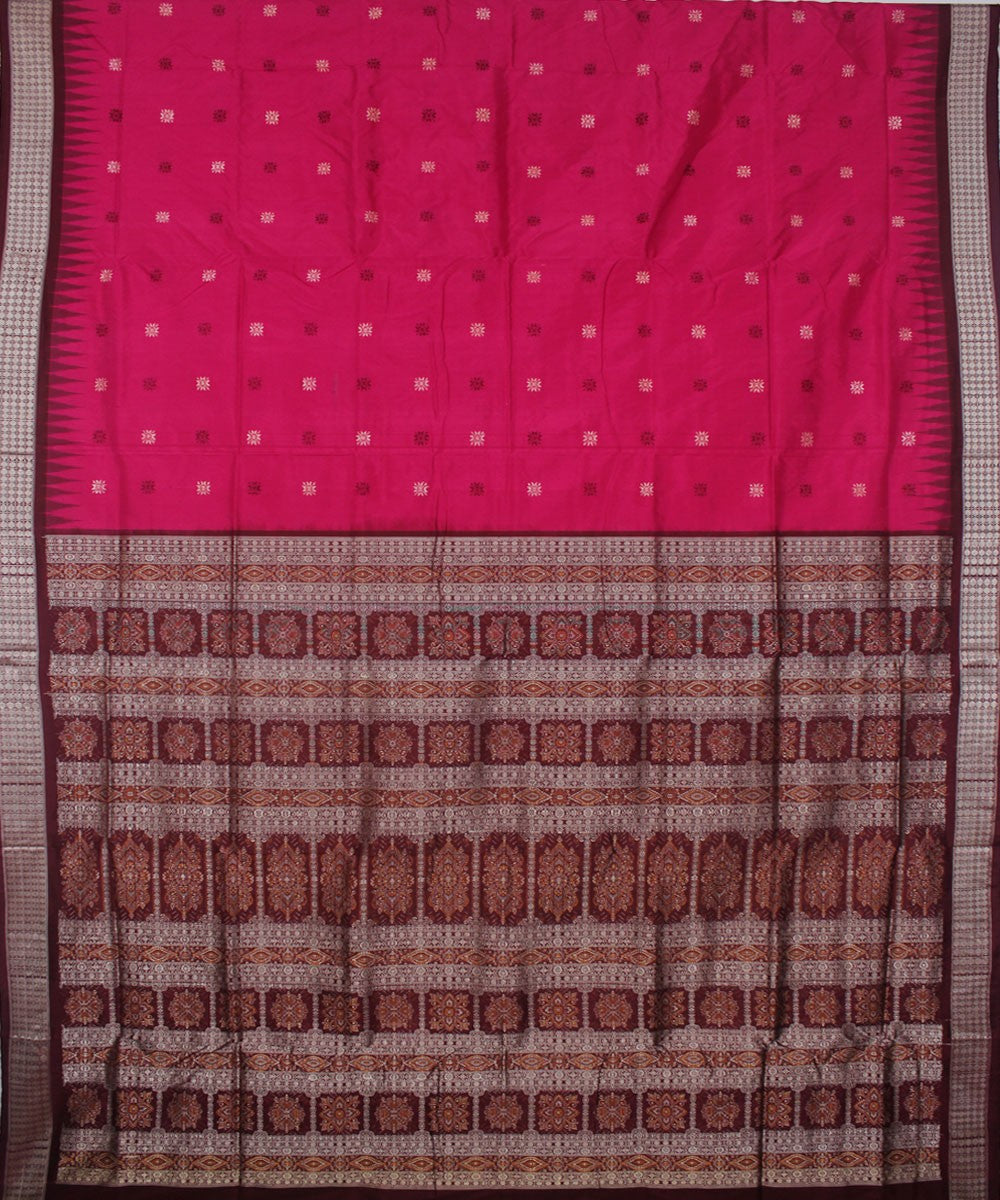 Handloom Bomkai Silk Saree Pink Coffee