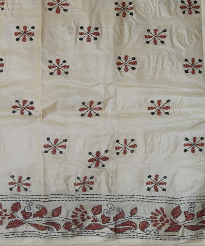 Handloom Kantha Stitch Tussar Silk Saree