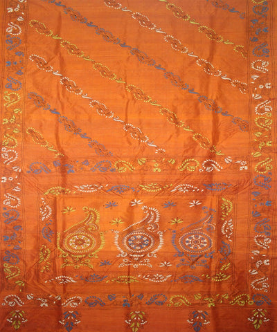 Handwoven Kantha Stitch Tussar Silk Saree Rust