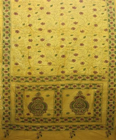 Handloom Kantha Stitch Yellow Tussar Saree