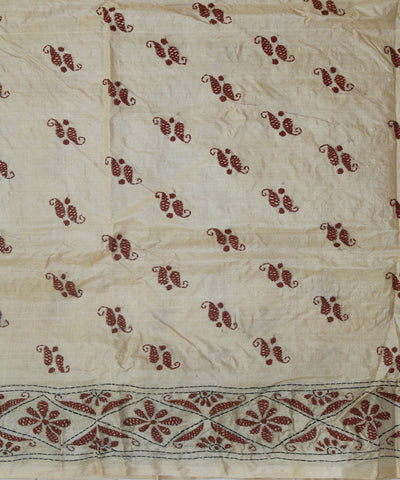 Handloom Tussar Silk Kantha Stitch Saree