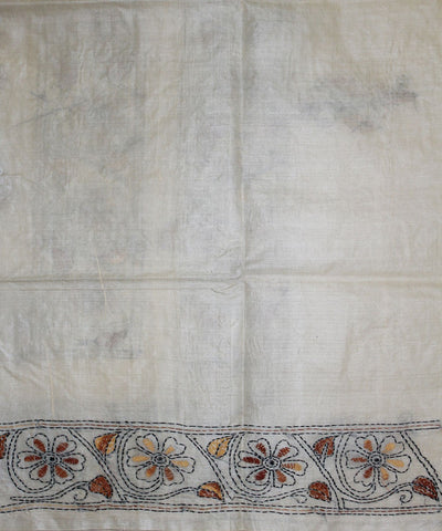 White Kantha Stitch Handloom Silk Saree