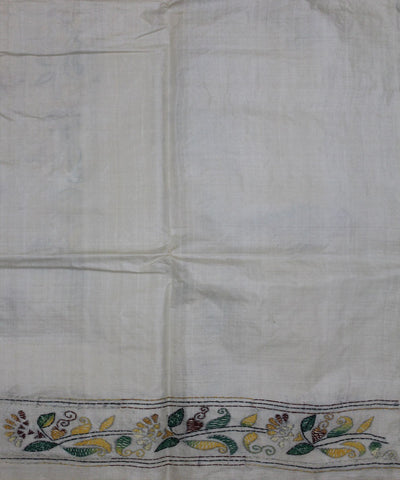 White Kantha Stitch Handloom Tussar Saree