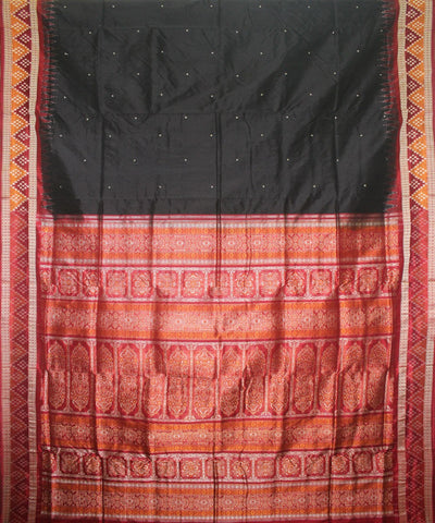 Handloom Bomkai Silk Saree Black Maroon