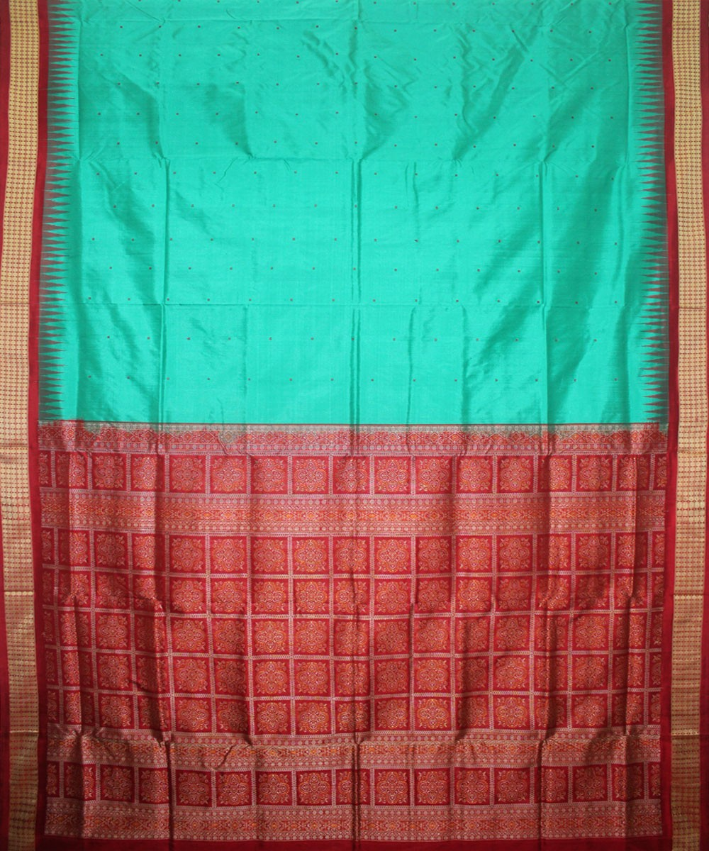 Green Red Handloom Bomkai Silk Saree