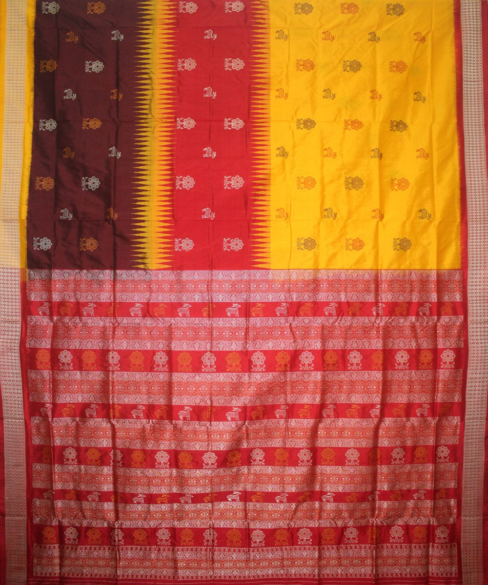 Handloom Bomkai Silk Saree Yellow Red